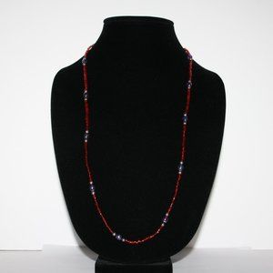 Beautiful red Purple and silver glass necklace 30""